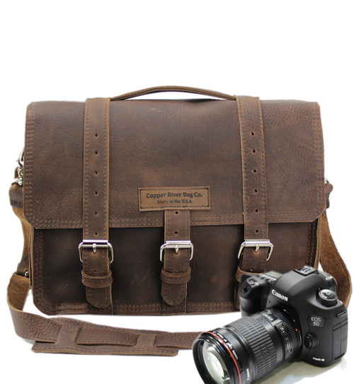 "15"" Large Sonoma BuckHorn Camera Bag in Chocolate Grizzly Leather"