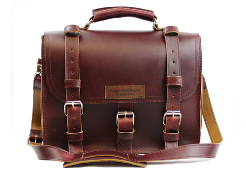 "15"" Large Lincoln Classic Briefcase in Burgundy Red Leather / Lined with Suede"
