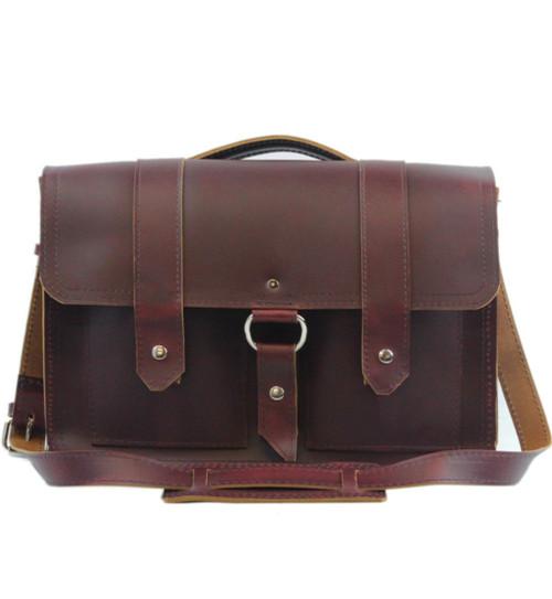 "15"" Large Hemingway Briefcase in Burgundy Red Napa Excel Leather"