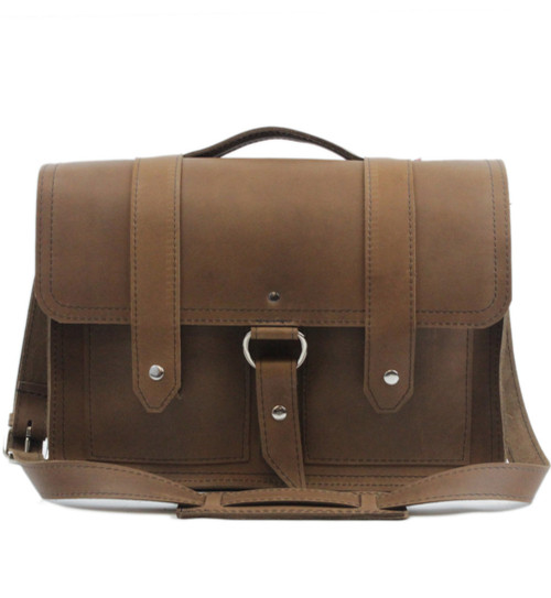 """15"""" Large Hemingway Briefcase in Brown Oil Tanned Leather"""