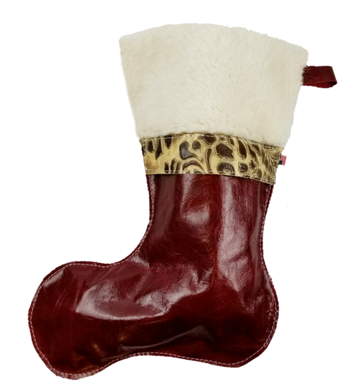 Christmas Stockings in Italian Red Leather With Wool Top and Tan Paisley Accent