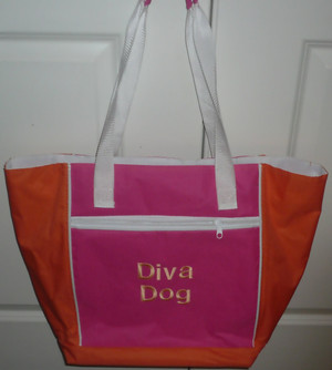 Diva Dog Pink & Orange Lined Canvas Tote