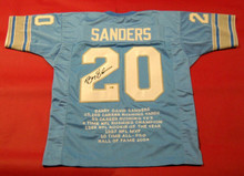 BARRY SANDERS JIM BROWN AUTOGRAPHED LIONS  BROWNS STAT JERSEYS AASH JSA