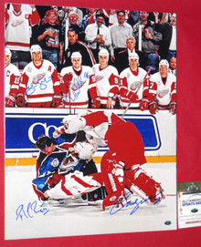 ROY OSGOOD SHANAHAN HOLMSTROM SIGNED 16X20 FIGHT PHOTO DETROIT RED WINGS AASH