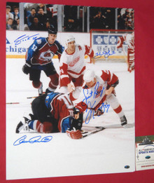 McCARTY LEMIEUX SHANAHAN FOOTE SIGNED 16X20 FIGHT PHOTO DETROIT RED WINGS AASH