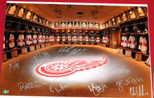 DETROIT RED WINGS SIGNED LOCKER ROOM 14X20 PHOTO 9 AUTOS AASH LIDSTROM CHELIOS
