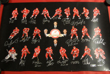 DETROIT RED WINGS SIGNED 24X36 LITOGRAPH 22 AUTOS HOF YZERMAN LIDSTROM SHANAHAN
