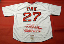 CARLTON FISK AUTOGRAPHED BOSTON RED SOX STAT JERSEY JSA