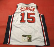 MAGIC JOHNSON AUTOGRAPHED 1992 USA OLYMPICS BASKETBALL JERSEY AASH DREAM TEAM