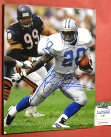 BARRY SANDERS DETROIT LIONS AUTOGRAPHED 16X20 PHOTO AASH