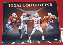 EARL CAMPBELL RICKY WILLIAMS VINCE COLT SIGNED TEXAS LONGHORNS 16X20 PHOTO JSA
