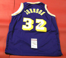 MAGIC JOHNSON AUTOGRAPHED LOS ANGELES LAKERS JERSEY JSA