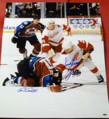 DARREN McCARTY CLAUDE LEMIEUX SIGNED 20X27 DETROIT RED WINGS SWEET REVENGE AASH