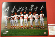 BIG RED MACHINE AUTOGRAPHED CINCINNATI REDS 16X20 PHOTO ROSE BENCH JSA 8 PLAYERS