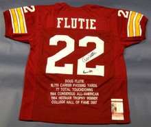 DOUG FLUTIE AUTOGRAPHED BOSTON COLLEGE STAT JERSEY JSA HEISMAN 84 INSCRIPTION BC