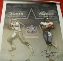 ROGER STAUBACH AUTOGRAPHED DALLAS COWBOYS HUGE 32 X 40 CANVAS NEEDS TROY AIKMAN