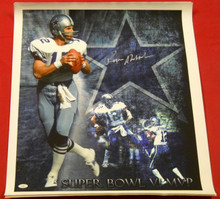 ROGER STAUBACH AUTOGRAPHED DALLAS COWBOYS 20 X 24 CANVAS JSA LAST ONE