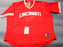 PETE ROSE AUTOGRAPHED CINCINNATI REDS JERSEY HIT KING INSCRIPTION JSA LAST ONE