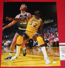 MAGIC JOHNSON AUTOGRAPHED LOS ANGELES LAKERS 16X20 PHOTO W/ LARRY BIRD JSA