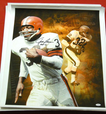 JIM BROWN AUTOGRAPHED CLEVELAND BROWNS  20 X 24 CANVAS JSA HOF INSCRIPTION