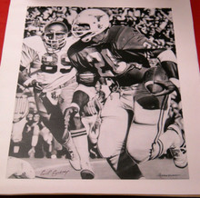 EARL CAMPBELL AUTOGRAPHED TEXAS LONGHORNS 24X30 CANVAS B&W AAA HEISMAN OILERS