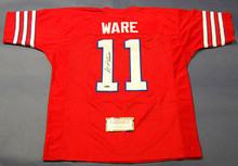 ANDRE WARE AUTOGRAPHED HOUSTON COUGARS JERSEY RARE 89 HEISMAN INSCRIPTION JSA