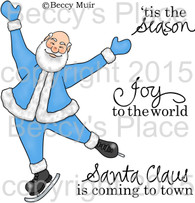 Skating Santa digital stamps