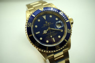 ROLEX 16618 SUBMARINER 18K SOLID GOLD BOX,PAPERS, BOOKS DATES 2003  PRE-OWNED FOR SALE HOUSTON FABSUISSE