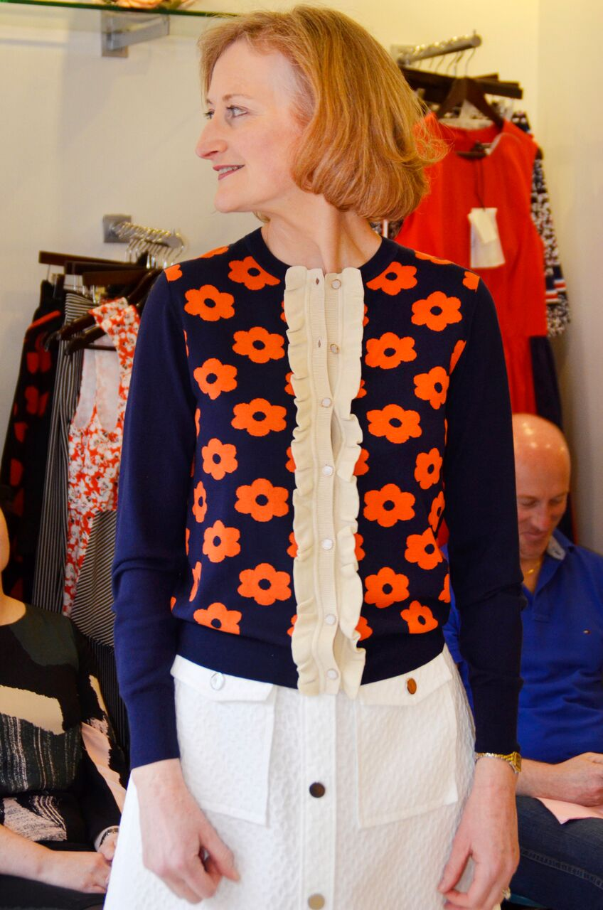 Orla Kiely Cardigan and White Skirt