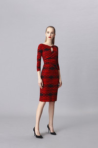 La Petite Robe Kelcie red and black print dress with elbow length sleeves and a roll collar