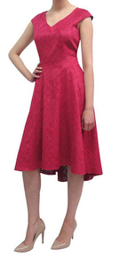 fee g berry red dipped hem suede dress with laser cut pattern fitted bodice  a v neckline and full skirt
