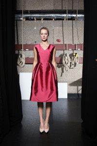 Caroline Kilkenny Milly Vneck sleeveless dress with a fitted bodice and a full knee length skirt