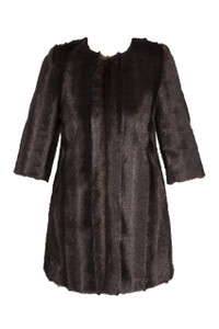 Fee G Brown Faux fur coat with elbow length sleeves and a round neckline , a straight cut finishing above the knee. luxurious vintage style coat