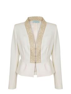 Caroline Kilkenny jacket with gold trim and peplum detail