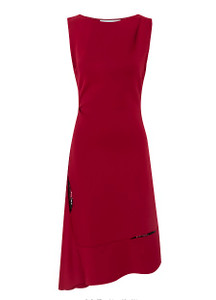 red boat neckline sleeveless dress with aline asymmetric skirt