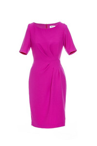 Pink boat neck short  sleeve tailored dress with a fitted waistband and a pencil skirt