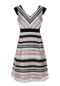 Gorgeous v neck stripe dress with fitted waist and full skirt is knee length