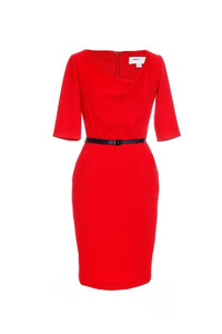 Red fitted dress with draped front and sleeves