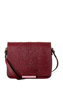 Orla Kiely Leather Mini Ivy Bag Berry