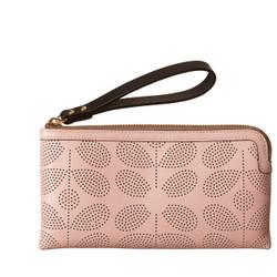 Orla Kiely Leather Flat Zip Pink