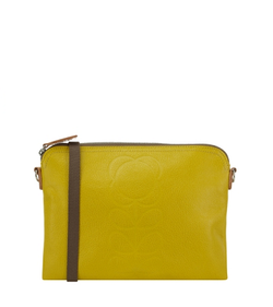 Orla Kiely Leather Travel Pouch Yellow