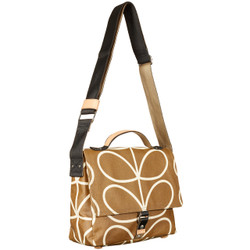 SATCHEL BAG IN CAMEL WITH ORLA KIELY STEM PRINT AND ADJUSTABLE STRAP