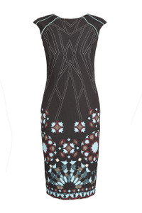 Black fitted round neck patterned dress with blue at the bottom