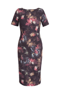 Dress by Aideen bodkin dark floral fitted dress with short sleeves and a boat neckline