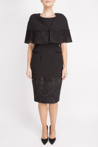 black sparkly cape with black dress by aiddeen bodkin