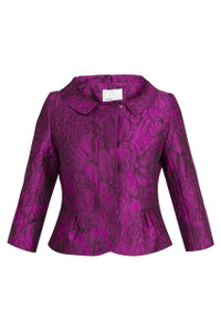textured violet jacket with collar and three quarter length sleeves