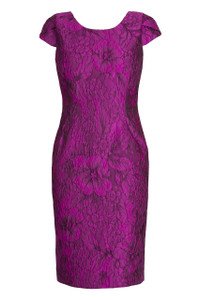 crushed silk violet dress with a boat neckline and cap sleeves