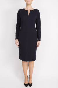 navy fitted knee length dress with sleeves