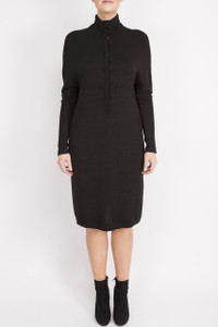 black button up dress with sleeves and a collar
