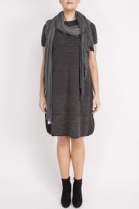 Transit Par Such Grey Short Sleeve Dress and Scarf